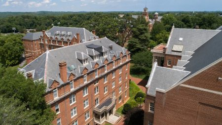 Aerial photo of Wright Hall and campus in the background