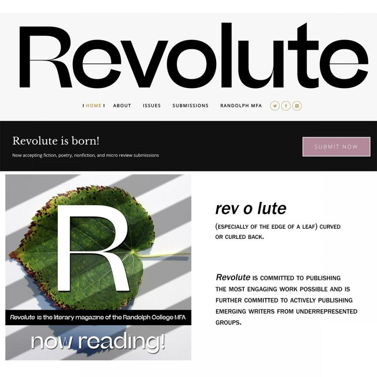 Revolute online literary journal published by the Randolph College MFA in Creative Writing program.