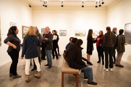 Community members attend the opening for the exhibition at the Maier Museum of Art at Randolph College last spring