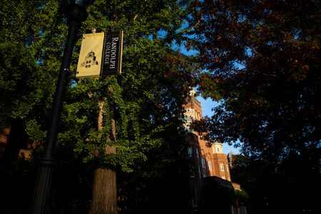 Randolph College banner in front of Main Hall