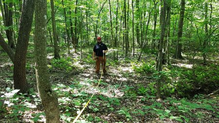 Mitchell Doss '21 on the job as a Virginia Department of Forestry intern.