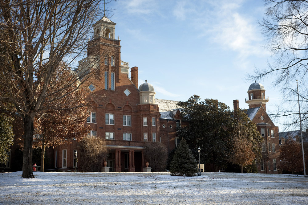 Main Hall at Randolph College in January