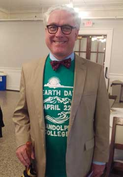 President Bateman sports the official Earth Day t-shirt.