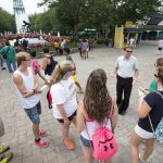 Physics professor Peter Sheldon speaks to SUPER students at Kings Dominion theme park - one of several field trip destinations during the program.