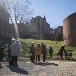 Alumnae and other members of the Randolph community examine the labyrinth, gifted to the College by Katharine Stark Caldwell