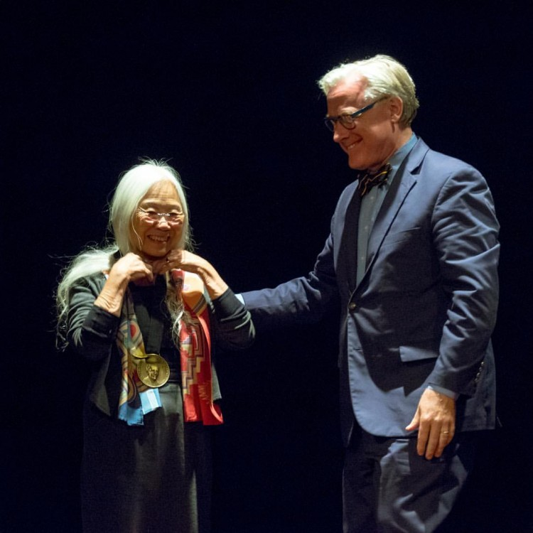 President Bradley W. Bateman presents the Pearl S. Buck Award to distinguished Chinese American author Maxine Hong Kingston. She is the sixth recipient of the award, which is one of the College's highest honors.