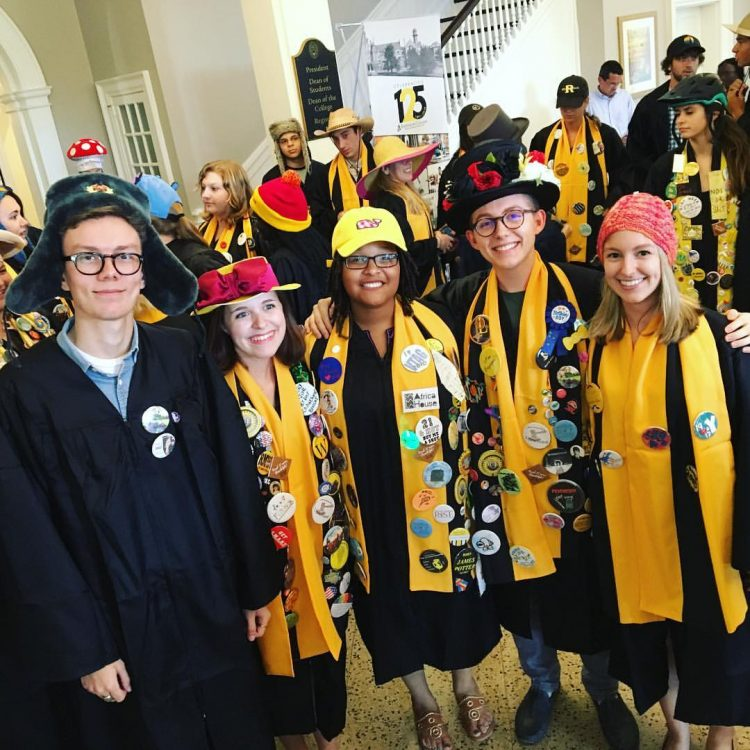 Seniors dress in robes and hats for convocation.