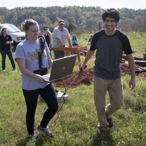 Randolph College students take seismograph readings for an archeology dig.