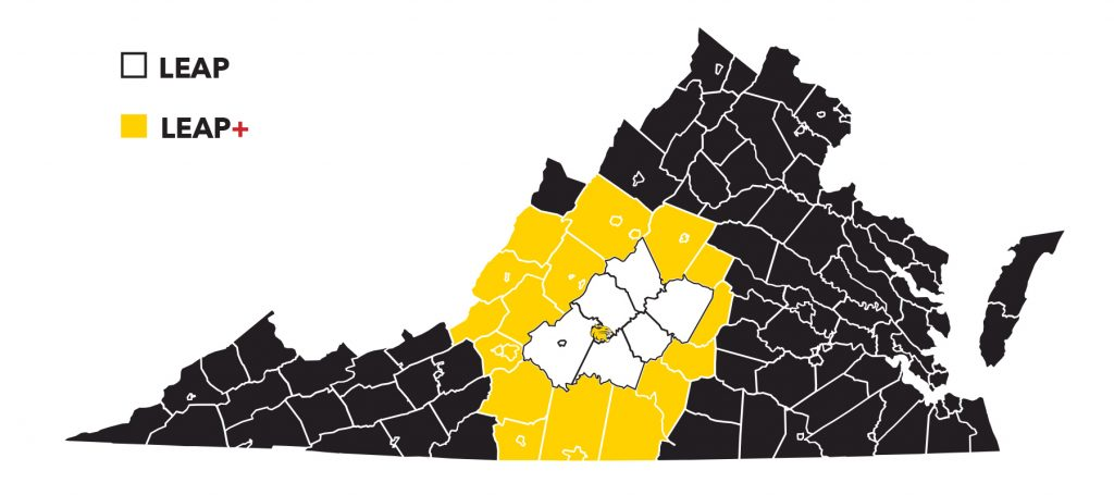 map of Virginia counties that are included in the LEAP program