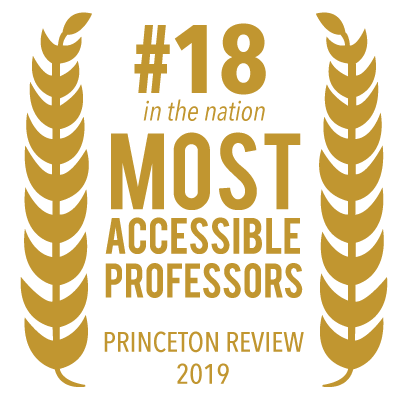 Randolph College was ranked 18th by The Princeton Review for the Most Accessible Professors
