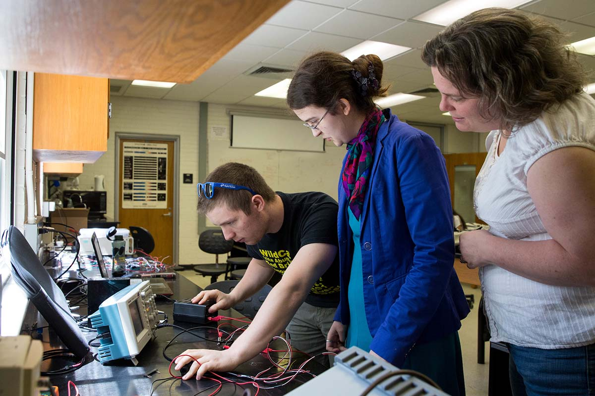 Professor Sarah Sojka works with two students on a summer research project.