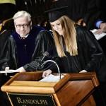 As Student Government president, Marielle Rando '14 spoke at the Inauguration of Randolph College President Bradley W. Bateman.