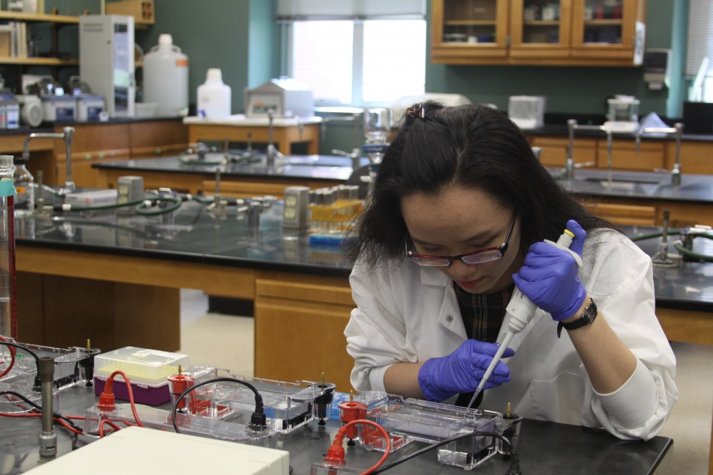 Photo of student in lab