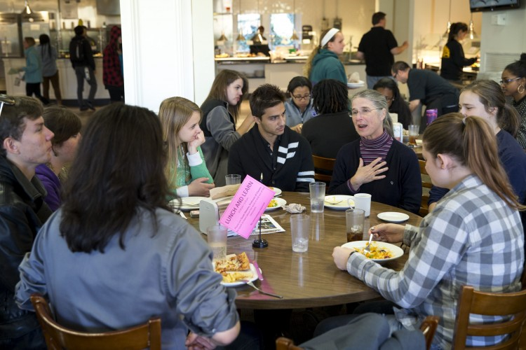 Classics professor Susan Stevens discusses her research with students at a Lunch and Learn session.