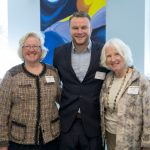 (left to right) Sarah Gavin '71, Michael Ramsey '17, and Pauline Blair '67 at the Symposium for Artists and Scholars donor luncheon.