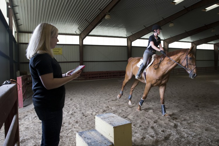 MacKenzi Brown rides one of the horses (Charlie) involved in her Summer Research project while professor Amanda Rumore tracks readings on an iPad.