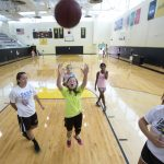 Photo of kids at basketball camp.