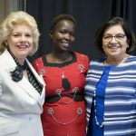 From left are 2015 Alumnae Achievement Award winners Carol Shepard Gutknecht '67, Kakenya Ntaiya '04, and Edna Aguirre Rehbein '77.
