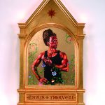 Kehinde Wiley, The Fiery Ascent of the Prophet Elijah, 2014, oil and 22-karat gold leaf on panel. 40 x 24 x 2 in. Courtesy of Pamela K. & William A. Royall, Jr.