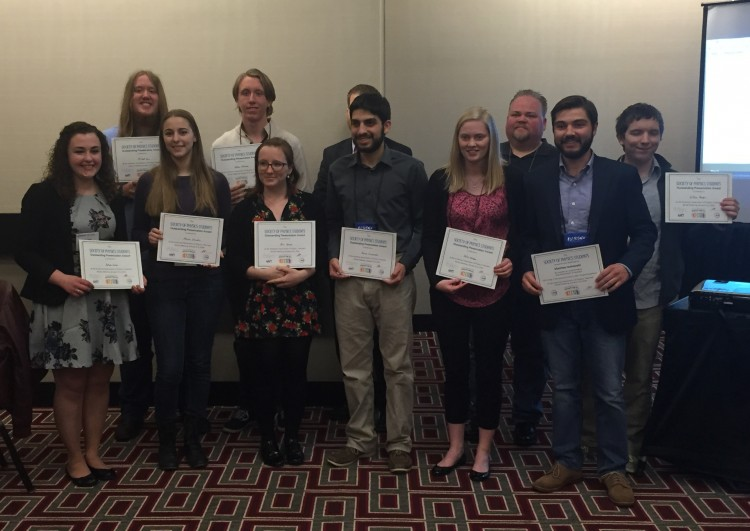 Randolph students Russ Burt '17 and Zach Vernon '18 (back right) received the Society of Physics Best Poster Award at the American Association of Physics Teachers National Conference.