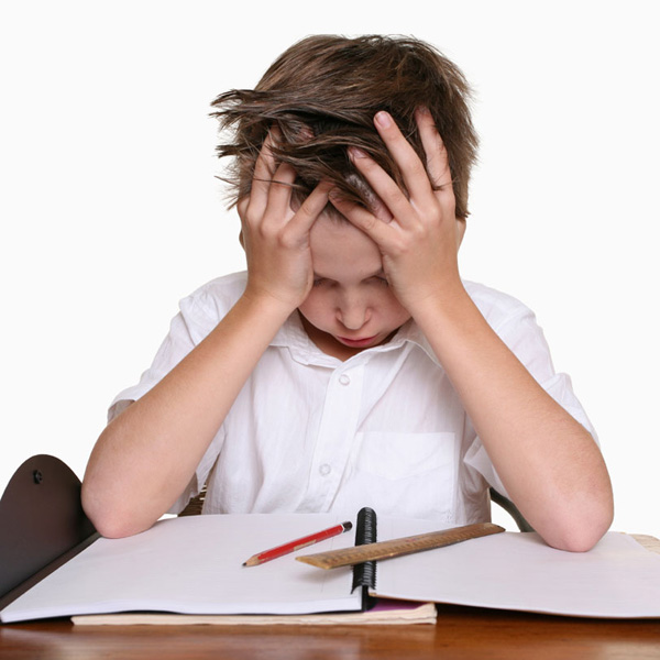 struggling school child