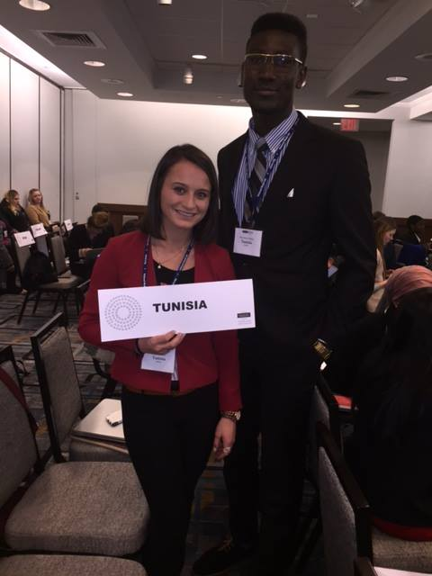 Katie Godwin '19 and Philemon Afrifa-Boakye '19 at the National Model United Nations Conference.