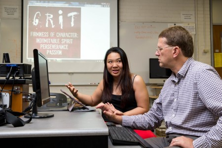 Zhe Chen '17 and physics professor Peter Sheldon discuss their research on the SUPER program.