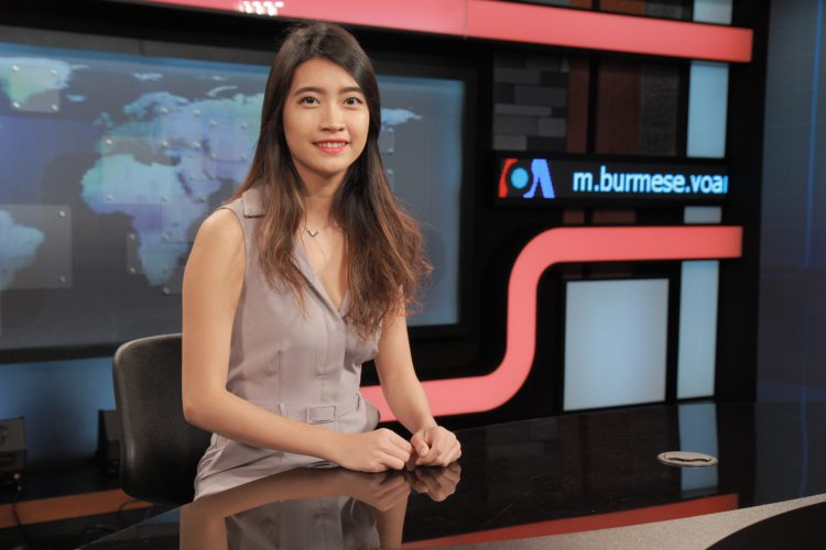 Ei Thant Sin '16 on the set for Voices of America Burmese