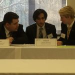 (From left) Christian Ridenour '18, Danish Roshan '18, and Katya Schwab '17 deliberate during the 2017 VFIC Ethics Bowl.