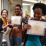 Wil Ridley '20 and Brittany Lundy '19 receive their certification from the Alternative Break Citizenship School