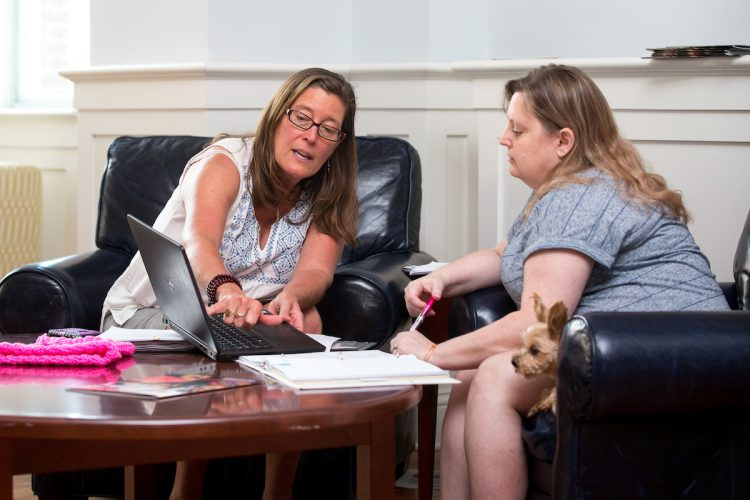 Sociology professor Danielle Currier and Lisa White '18 discuss their research.