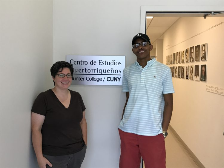 Visiting professor of American Culture Noel Wolfe and Zach Pennix '18 at the City University of New York's Centro de Estudios Puertorriquenos (Center for Puerto Rican Studies).