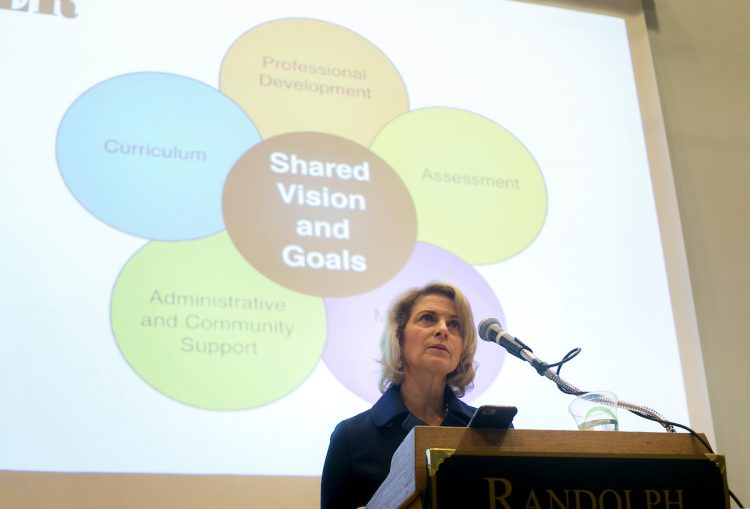 Kristin Genova Richardson '79 delivers the keynote for the Heick Symposium.