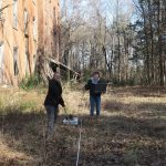 Allison Brooks '18 and Jessy Spencer '18 use the GPR device at the old site of Randolph-Macon College.