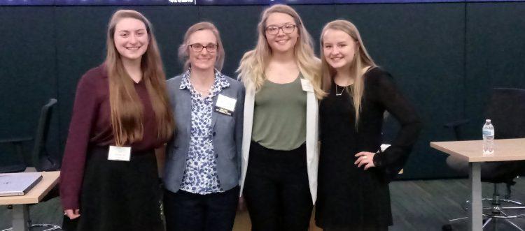 (from left) Veronica Lee '21, professor Jennifer Gauthier, Alex Wieczorek '19, and Hannah Overstreet '20