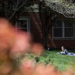 Studying outdoors on an 80-degree spring day