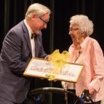 Dorothy Braden Bruce '42 receives the Alumnae Achievement Award