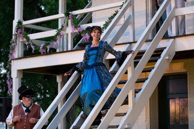 Kelly Malone Dudley '95 performs as Lady India Capulet in Wolfbane Productions' Romeo and Juliet. (Photo courtesy of Wolfbane Productions)