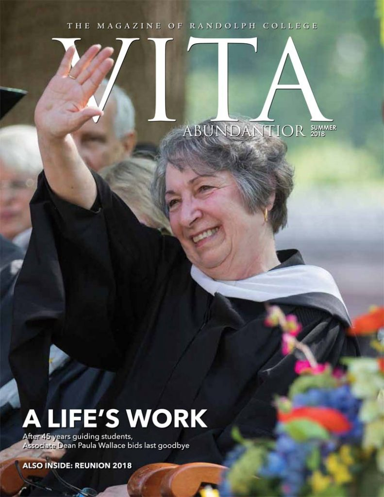 Cover of Vita Abundantior magazine, with photo of Paula Wallace waving to the crowd at Commencement 2018