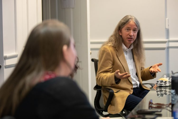 Noah Heringman, who teaches Romanticism, aesthetic theory, and history of science at the University of Missouri, speaks with Randolph students, faculty, and staff at a special luncheon