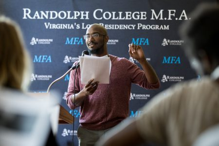 Phillip B. Williams, core faculty member for Randolph's new M.F.A. in Creative Writing Program, reads from his work during the first M.F.A. residency this summer