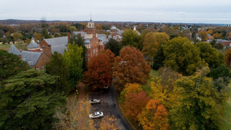 Aerial photo of autumn colors on front campus