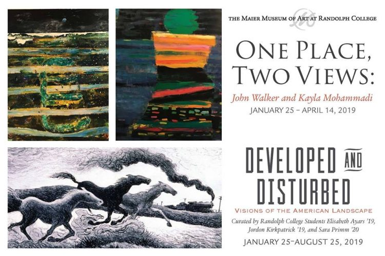 Graphic for the exhibitions, One Place, Two Views: John Walker and Kahla Mohammadi and Developed and Distubred: Visions of the American Landscape