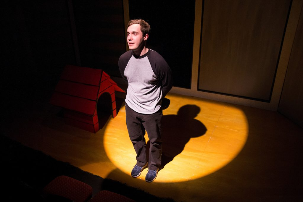Travis Byram '18 performing in Randolph's production of Dog Sees God in 2017