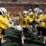 The WildCat men get ready for a lacrosse game versus Methodist