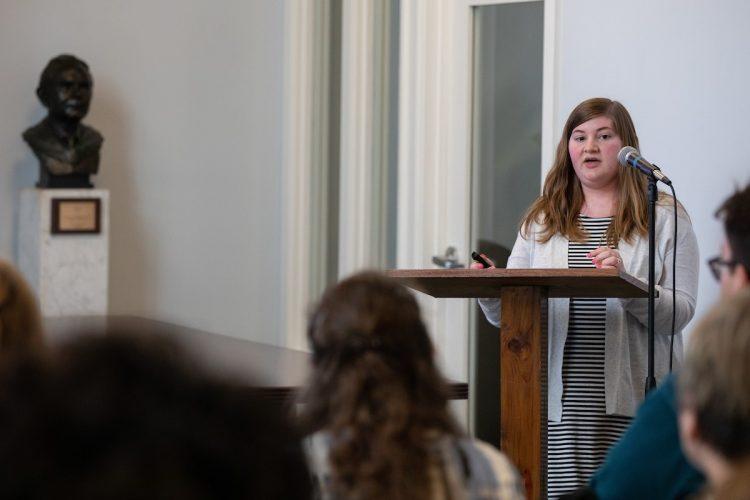 McKenzie Givens '19 delivers her presentation,