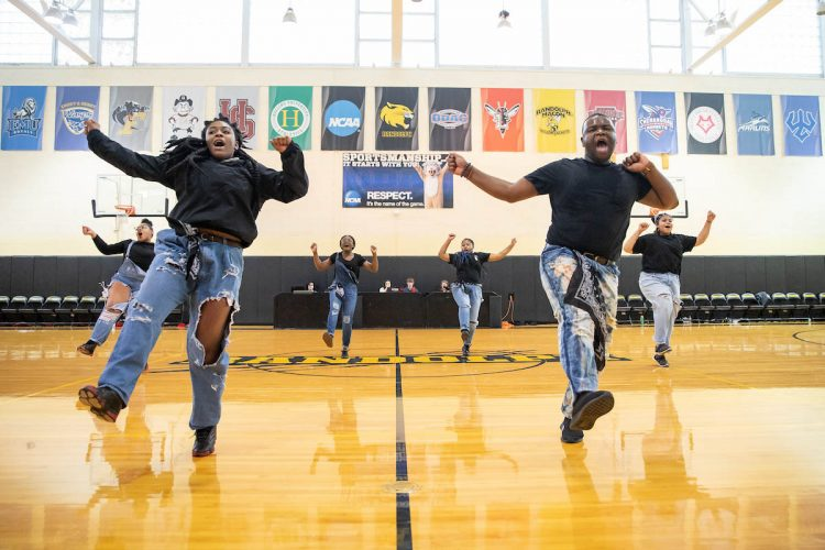 The Randolph College Step Team debuted at the men's basketball team's home opener in November