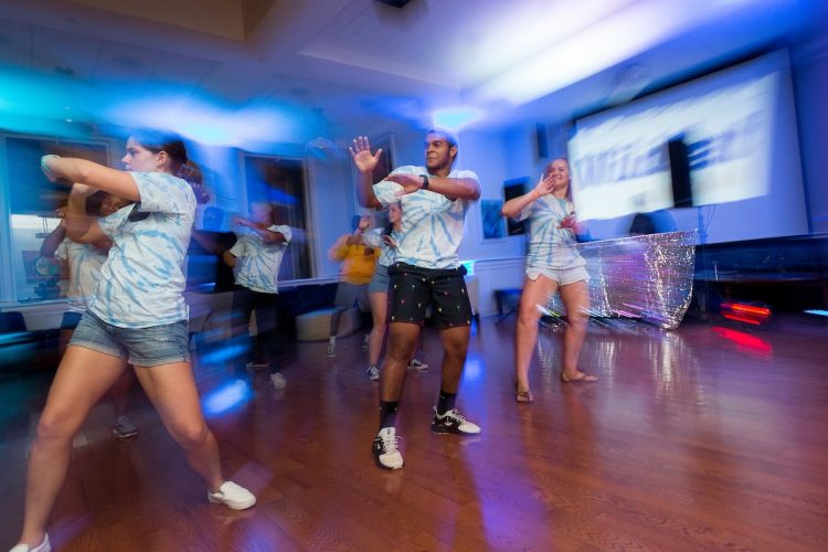 Students dance at MAC's dance party during WildCat Weekend in 2018
