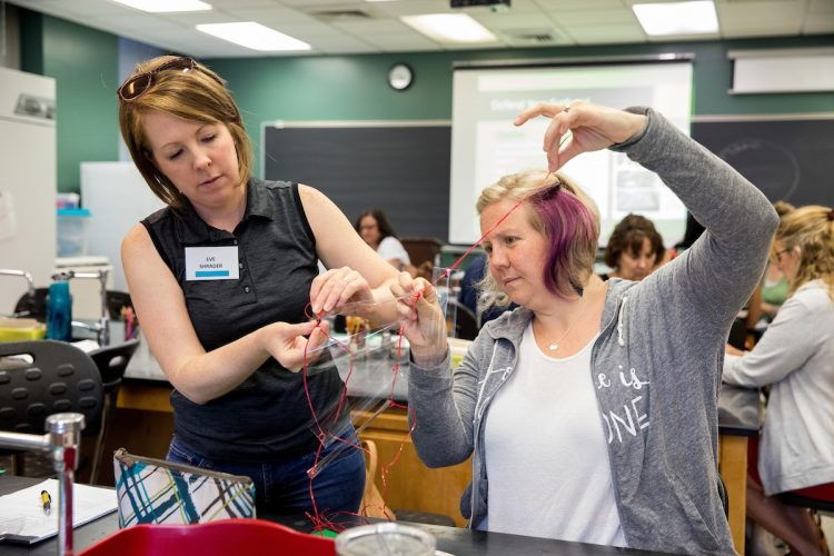 Area high school teachers participate in group activities at the Science Teaching Institute at Randolph in 2018