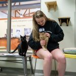 Hannah Overstreet pets cats at the Lynchburg Humane Society